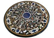 Black Marble Garden Table Top Hand Crafted Dining Table With Cottage Handicrafts