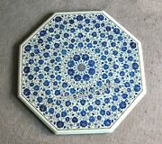 Octagonal Marble Dining Table Top Lapis Lazuli Stone Inlaid Coffee Table Top