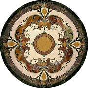 Green Round Marble Dining Table Top With Mosaic Art Conference Table Decent Look