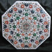 Marble Dining Table Top Hand Inlaid Meeting Table With Shiny Gemstones Work
