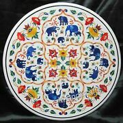 Colorful Stones Elephant Pattern Inlay Reception Table Top Marble Dining Table