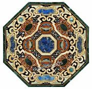 Luxurious Dining Table Top With Marquetry Art Marble Hotel Table Antique Work