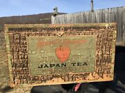 Antique Hearts Delight Japan Tea Wellsville Ny Tin Lined Graphic Wood Advertise