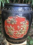 19th Century Chinese Wooden Barrel Storage Bucket. Seat . Jian Ding Seal Carved
