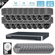 Hikvision 16 Ch 4k 8mp Poe Nvr 16x5mp Ip Dome Camera Cctv Security System 4tb