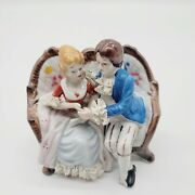 5.5 W 4.5 T Victorian Couple Sitting On Couch Porcelain Figurine Courting