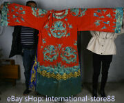 73.2 Old China Red Silk Cloth Embroidery Dynasty Palace Dragon Robe Costumes