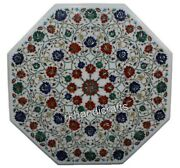 Semi Precious Stones Inlay Reception Table Top Floral Work Marble Dining Table