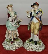 Pair Of Candelabra. Hand Painted Enamelled Porcelain. Germany. Xix-xx Century.