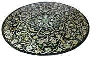 Mop Floral Pattern Inlay Kitchen Table Black Marble Coffee Table Heritage Art