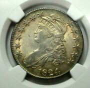 1824 Capped Bust Half Dollar Ngc Au58 Outstanding Eye-appeal Natural Toning Rare