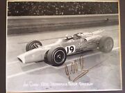 Jim Clark 1966 Autographed Indy 500 Qualifying Photo Signed By Jimmy