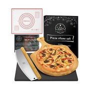 Neocasa Black Cordierite Baking Pizza Stone Pan Set For Oven, Grill And Bbq Wit...