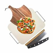 Pizza Stone For Oven And Grill With Wooden Pizza Peel Paddle And Pizza Cutter R...