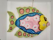 Vintage Mexican Folk Art Paper Mache Fish Two Pink With Sparkles Pink Yellow Blu