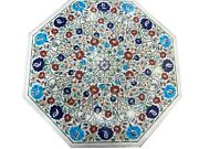 Semi Precious Stones Inlaid Dining Table Top Floral Art Marble Hallway Table Top