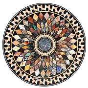 Geometrical Pattern Inlay Hotel Table Top Marble Dining Table With Multi Stones