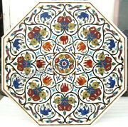 Luxurious Pattern Inlay Stone Meeting Table Top White Marble Dining Table Top