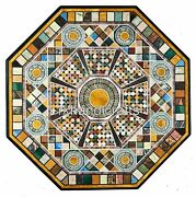 Royal Look Marble Dining Table Top Hand Inlaid Garden Table With Multi Stones