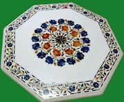 Octagon Marble Island Table Top Inlay Coffee Table With Lapis Lazuli Stone Work