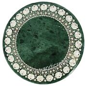 Round Dinette Table Top Green Marble Kitchen Table With Mother Of Pearl For Home