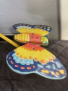 J. Chein And Co. Tin Litho Butterfly Push Toy W Stick Flaps Wings Vintage Antique