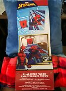 Spiderman Character 2 Piece Set 58 By 78 Inch Oversized Throw + 6x16 Pillow Nwt