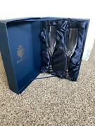 Pair Of Faberge Atelier Crystal Champagne Flute Glasses Bristol New Original Box