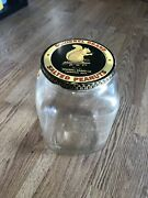 Vintage Country Store Squirrel Brand Salted Peanuts Glass Jar W Lid Advertising