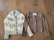 Abercrombie Girls Sweater Lot Of 2 Ivory Gray Brown L/xl Girl Fits Women Xs