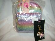 Betsey Johnson Lb Sky Sequin Backpack And Unicorn Crystal Keychain 2 Piece Set
