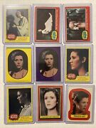 1977 Topps Star Wars Yellow 190 Carrie Fisher As Princess Leia Lot Of 9 Cards