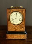 French Louis Philippe Period Inlaid Rosewood Carriage/library Clock