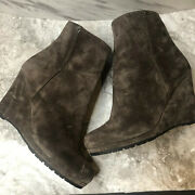 Prada Italy Womens Ankle Boots Booties Size 39.5 8.5 Wedge Suede Leather Brown