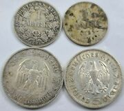 Lot Of 4 Germany 1 Mark 5 Reichsmark 1887-1936 Circulated Silver Coins 313g