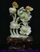 20 Chinese Natural Xiu Green Jade Carving Lotus Flower Luck Butterfly Sculpture