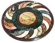 Multi Stones Inlay Round Kitchen Table Top Hand Made Marble Patio Coffee Table
