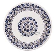 Round Patio Center Table Top Hand Inlaid Dining Table With Lapis Lazuli Stone