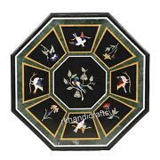 Octagon Black Marble Coffee Table Top Stone Sofa Table Inlay With Birds Pattern