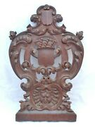 21 Antique Carved Architectural Furniture Panel Salvage Gothic 19th Coat Of Arm