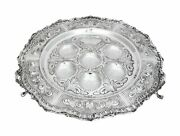 925 Sterling Silver Handcrafted Swirl Chased Standing Seder Plate