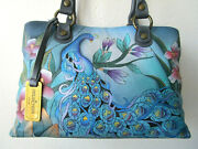 Anuschka Midnight Peacock Gray Hand Painted Leather 3 Compartment Satchel- Nwt