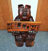 Large 27 Tall Chainsaw Carved Wood Brown Bear With Welcome Sign