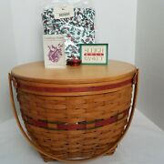 Longaberger Holiday Hostess Sleigh Bell Basket+liner+protector+lid 8th In Series