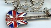 Beatles Union Jack Silver Guitar Necklace With Chain Seldom Offered