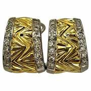 Smaller Scale Geometric Design Gold Earrings With Diamond Edges