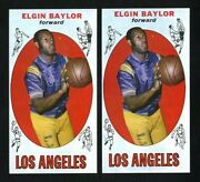 1969 Topps 35 Elgin Baylor Nm-mt Two Hq Cards Both Pack Fresh Blue Print Dusting