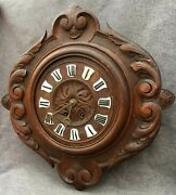 Large Antique Black Forest Clock Made Of Wood 19th Century France Woodwork 9lb