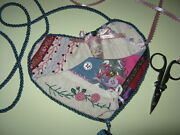 Crazy Patch Handmade Sewing Chatelaine Thimble Scissors Buttons Ribbons Heart