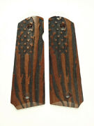 Walnut American Flag 1911 Grips Checkered Engraved Textured
